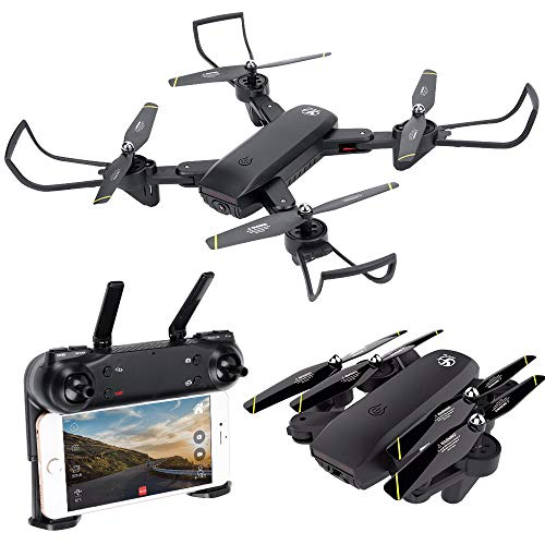 Cheap HuiShuTek FPV RC Quadcopter Drone with Dual Camera 720P HD Live Video WiFi 2.4GHz 6-Axis Gyro, Optional Sight, One Key Return and Headless Mode, Altitude Hold,RTF Drone for Kids&Beginners ,Foldable