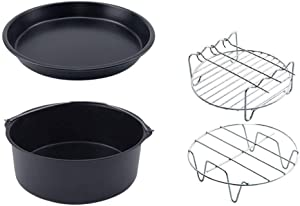 Gaone Air Fryer Accessories 7 Inch Kitchen Accessory Replacement BBQ Rack Double Layer Skewers Baking Tray for Air Fryer Including Cake Barrel Pizza Pan Fit All Standard Air Fryer