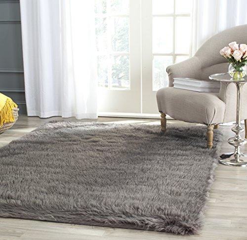 Safavieh Faux Silky Sheepskin FSS235D Grey Area Shag Rug (5' x 7')