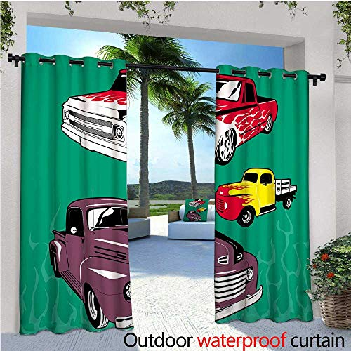 cobeDecor Truck Indoor/Outdoor Single Panel Print Window Curtain Colorful Vintage Pickups and Flatbed Flame Motif in The Hood Retro Vehicle Design Silver Grommet Top Drape W96 x L84 Multicolor