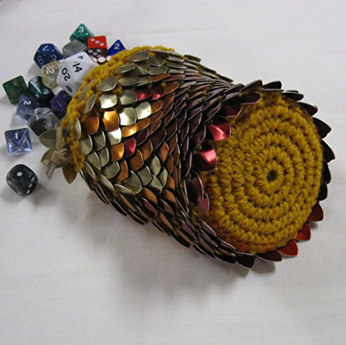 Dice Bag of Holding in knitted Dragonhide Armor - Pheonix - Extra Large by Crystal's Idyll