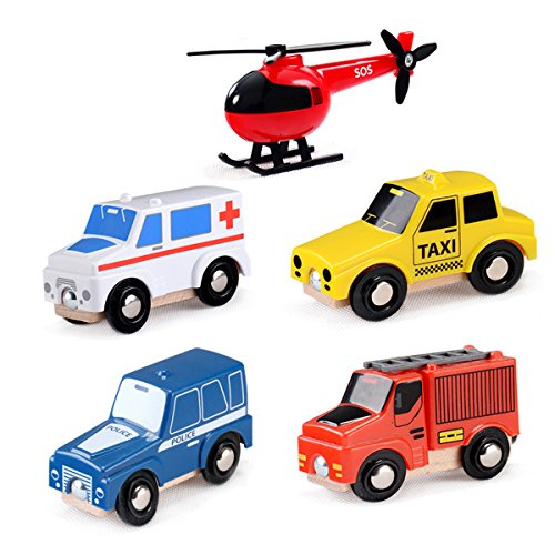 MinYn Wooden Emergency Vehicles Toy Set City Cars Firetruck Collection for Kids Boy Toddlers Railway Train Track Set - 5 pieces by MinYn
