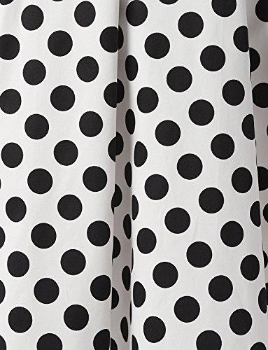 y Estampado Dressystar White Dot Rockabilly Fiesta Halter Mujer Cuello Corto Flores Black Vestidos Vintage Retro 60s Lunares 50s nxSqYSHI