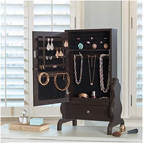 FirsTime & Co. Espresso Tabletop Mirror with Jewelry Storage