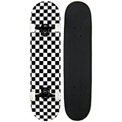 "This is a Complete Pro Skateboard, Which Comes Fully Assembled. Inluded is the Checkered Deck, Aluminim Black Gloss Trucks, 52mm Wheels, Abec 7 Bearings, 1"" Hardware, Black Griptape"