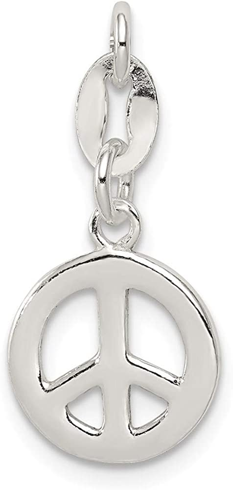 Sterling Silver Polished Peace Charm on an Adjustable Chain Necklace 18 2 Extender