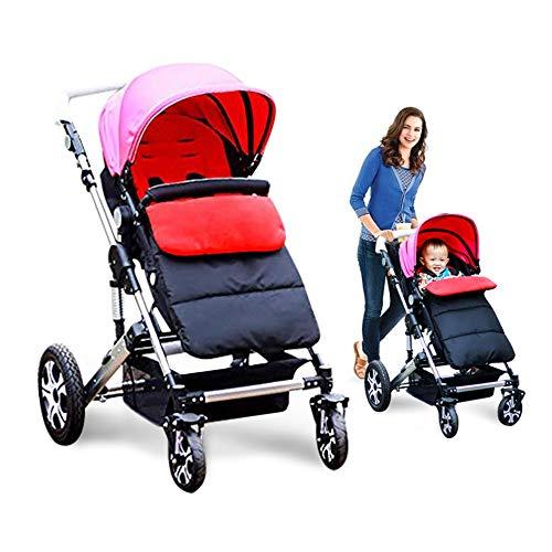Kidsidol Baby Sleeping Bag Universal Bunting Bag Stroller Footmuff Cover 3-in-1 Baby Stroller Blanket Waterproof Windproof Stroller Annex Mat Keep Warm and Detachable (Red)