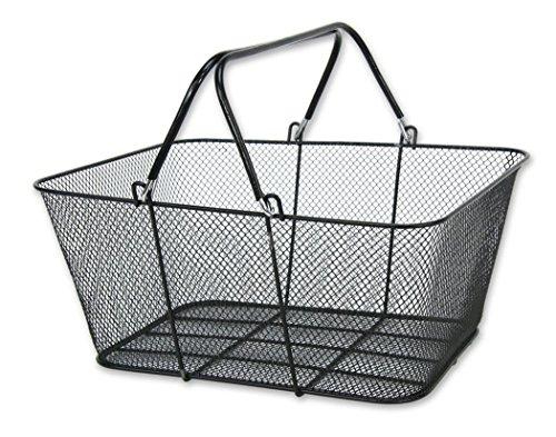 (Wire Handle Shopping Baskets Mesh Rubber Coated 12 Basket Set Black NEW)