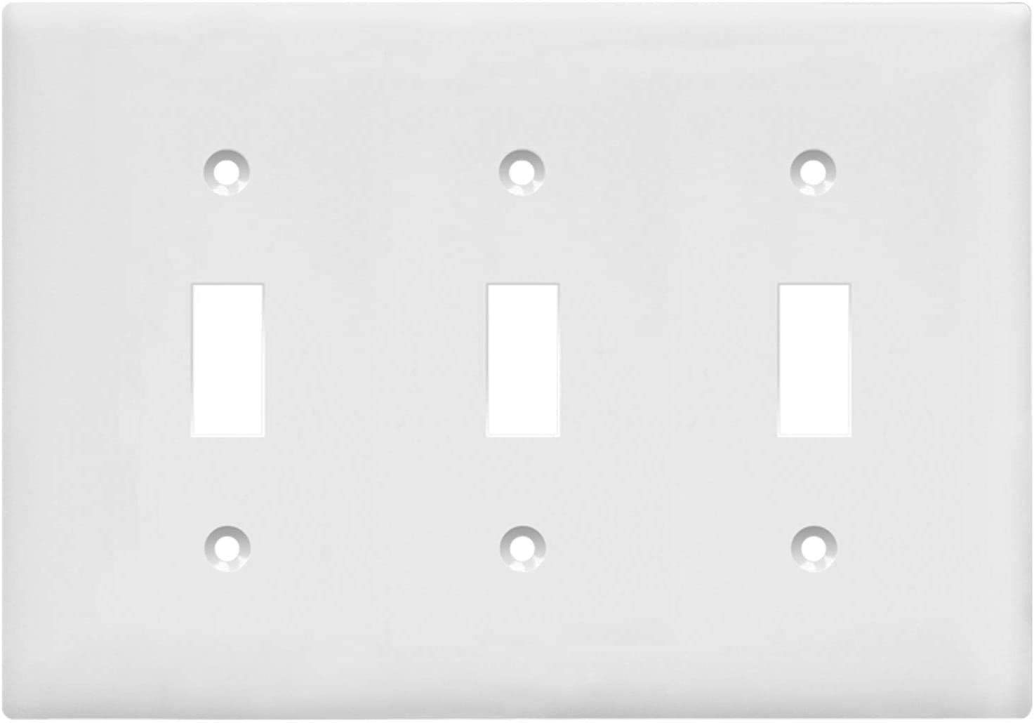 """ENERLITES Toggle Light Switch Wall Plate, Size 3-Gang 4.50"""" x 6.38"""", Unbreakable Polycarbonate Thermoplastic, 8813-W, White, 3 Gang"""