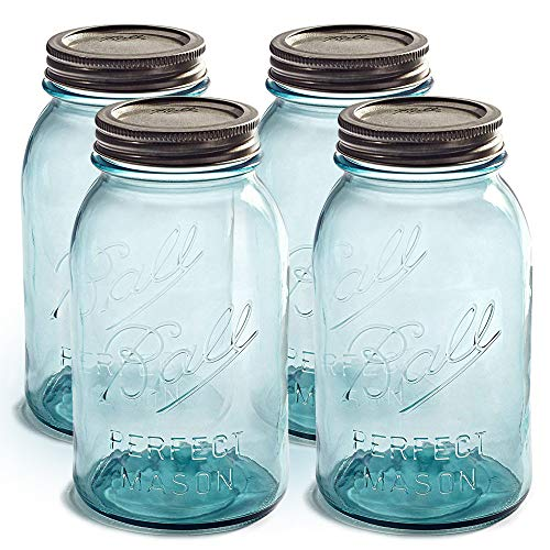 Blue Mason Jars 32 oz Regular Mouth - Set of 4 Aqua Ball Canning Jars with Airtight lids and Bands - For Canning, Fermenting, Pickling, Storage - DIY crafts & Decor - Toxin Free.+ SEWANTA Jar Opener ()