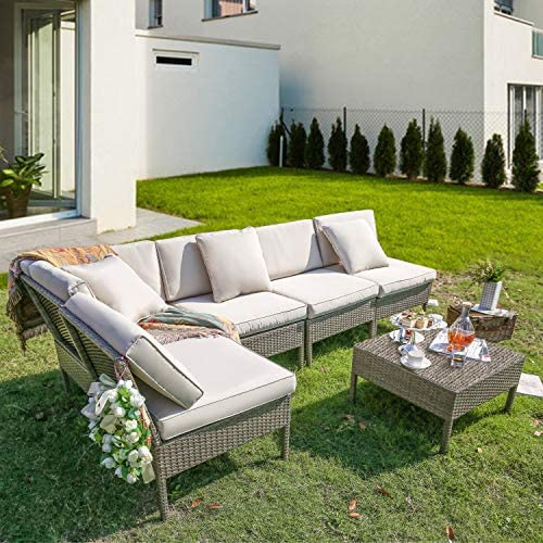 PatioFestival Patio Sofa Set 6 Pieces 5.1 Oxford Cushion Wicker Sectional Outdoor Furniture Set