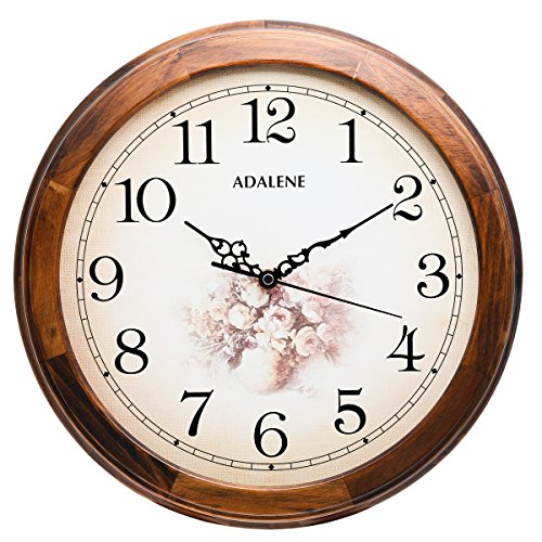 Analog Floral Dial (Adalene 14-Inch Wall Clocks Large Decorative Living Room Clock - Quiet Battery Operated Quartz Analog Wood Wall Clock - Round Sepia Flower Dial with Fancy Arabic Numerals, Wooden Frame)