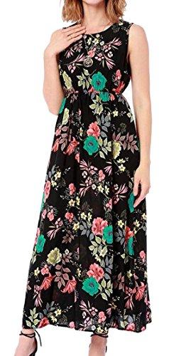 Boho Printed Sleeveless Party O Jaycargogo Swing Women Black Maxi Neck Dress CqBxxw57