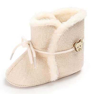 Meeshine Newborn Baby Infant Bowknot Snow Boots Winter Warm Soft Toddler Girls Boys Prewalker Crib Shoes(Large(12-18 Months),Khaki)