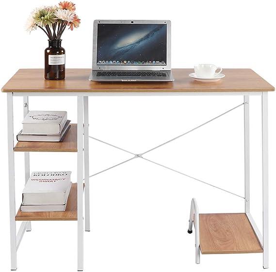 60cm Scrivania con scaffali Tavolo per Computer Scrivanie e postazioni di Lavoro//Scrittura per Casa//Ufficio DlandHome 120 Teak /& Bianco
