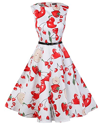 Sleeveless White Floral Printing Casual Cocktail Petticoats Vintage Apple Wenseny Dresses Womens fxqwUqZa