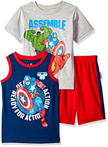 (Marvel Boys' Little' Avengers 3 Piece Short Set, Grey,)