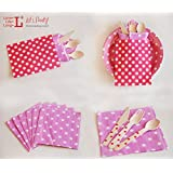 Multicolor Disposable Wooden Dot Pattern Tableware (Pink)
