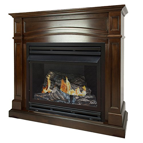 Pleasant Hearth 46 Full Size Cherry Natural Gas Vent Free Fireplace System 32,000 BTU, Rich