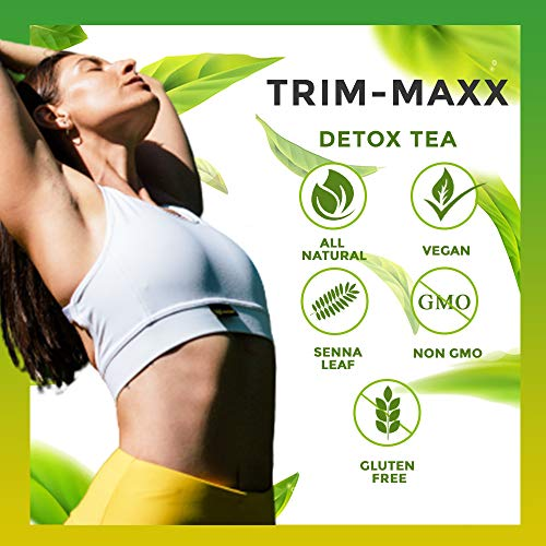 Trim Maxx Weight Loss Tea - Herbal Weight Loss and Detox Tea For Natural Constipation, Stomach Tea Made with Senna Leaves, NON-GMO, Caffeine Free, ...