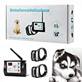 Bling Bling Petsfun Electric Wireless Dog Fence System for2 Dogs, Pet Containment System for Dog and Pets with Waterproof and Rechargeable Training Collar Receiver for 2 Dogs Boundary Container