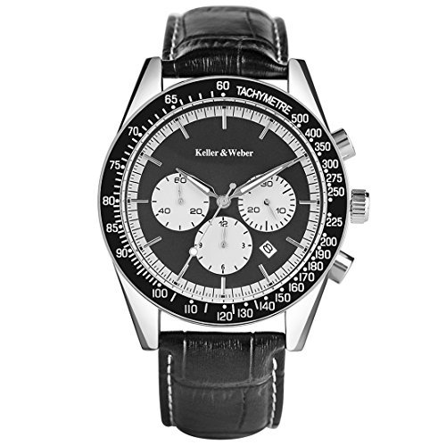 Keller & Weber Men's Black Wristwatch Chronograph Watches with Date Display Water Resistant - Card Warehouse Running Sale Gift