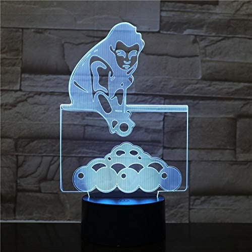 Leeypltm Biljard-Master 3D illusie lamp LED nachtlampje 7 kleuren wijzigen, Touch Control, USB-oplader, als decoratieve woonkamer slaapkamer en mooi verjaardagscadeau