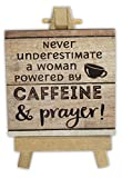 Abbey Gift Caffeine & Prayer Mini Plaque On Easel