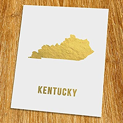 "Kentucky Gold Map Print (Unframed), Gold Foil Print, Gold Foil Art, 8x10"", TE-017G"