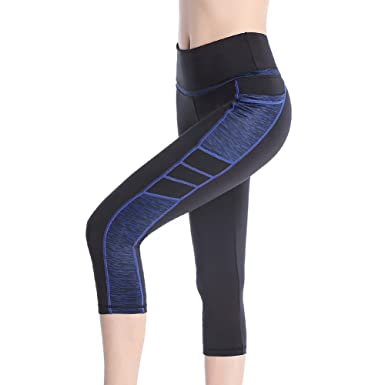 63eb64de5583b SEYO Women's Yoga Pants Stretchy High Waist Workout Running Leggings with  Pocket (Black/Blue