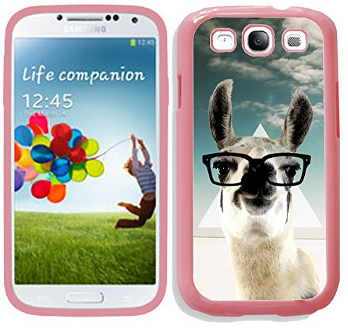[TeleSkins] - Hipster Llama Geek Glass - Samsung Galaxy S3 Pink Back Case / Cover - Ultra Durable HARD PLASTIC Protective Snap On back Case for Samsung Galaxy S3. [Fits - Geek Glasses Trendy