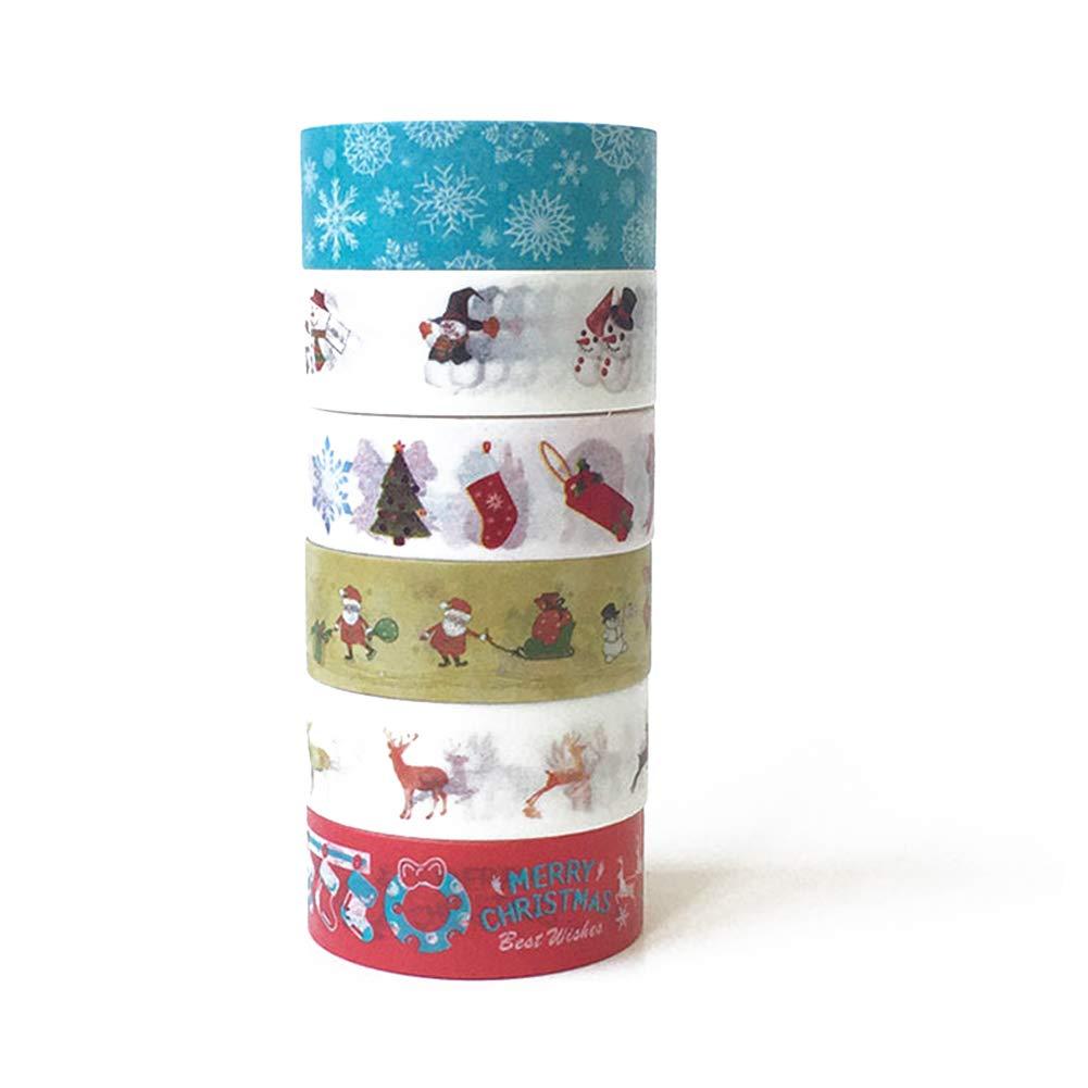 Hemore Cartone Animato di Natale Nastro di Carta Decorazione e PG-06008 1 Set (6 volumi) Alce Natale Addobbi e Decorazioni per ricorrenze