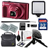 Canon PowerShot SX620 HS 20.2MP 25X Optical Zoom Digital Camera Video Creator Kit (Red)+ 32GB High Speed Memory Card + Steady Grip + LED Video Light + Extra Battery + Professional Accessory Bundle