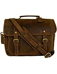 BASIC GEAR 15 Inch Retro Crazy Horse Leather Laptop Messenger Bag Office Briefcase College Bag