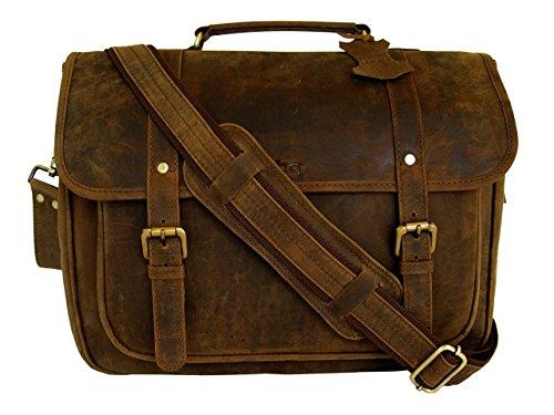 BASIC GEAR 15 Inch Retro Crazy Horse Leather Laptop Messenger Bag Office Briefcase College Bag