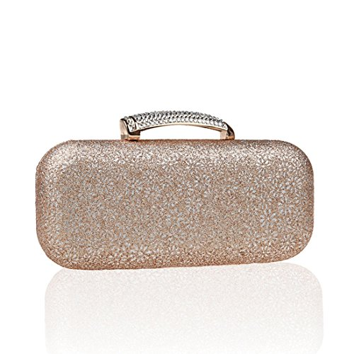 KAXIDY Damentasche Tasche Unterarmtasche Perlen Schneeflocke-Muster Handtasche Abendtasche Für Party Hochzeit (Blau) Champagner