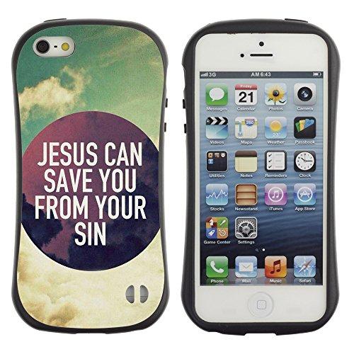 DREAMCASE Citation de Bible Silicone et Rigide Coque Protection Image Etui solide Housse T¨¦l¨¦phone Case Pour APPLE IPHONE 5 / 5S - JESUS CAN SAVE YOU FROM YOUR SINS