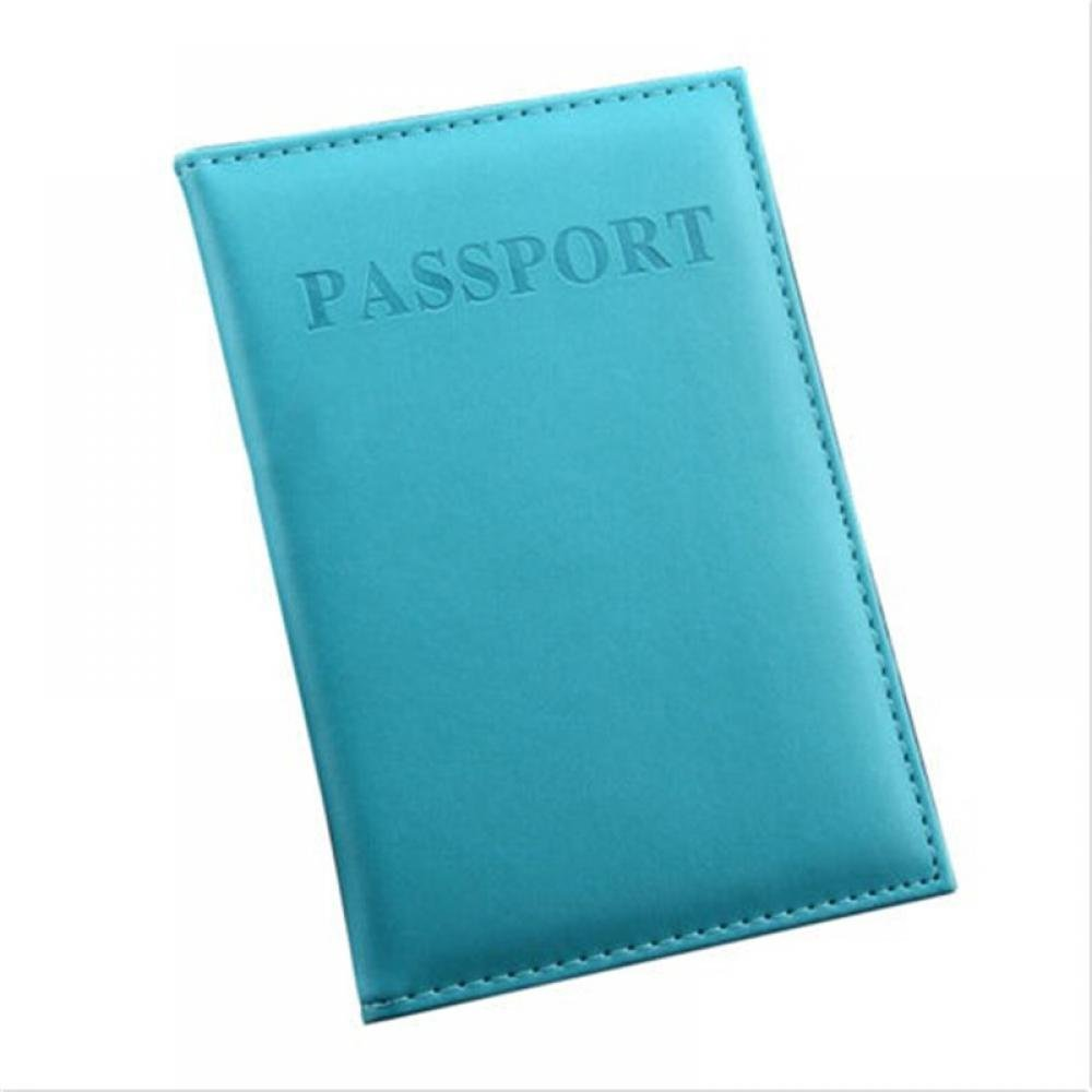 GENENIC 2Pcs PU Leather Passport Cover Holder Case Travel ID Credit Card Protector Ticket Pouch Storage Bag Organizer Gift, Light Blue HshH