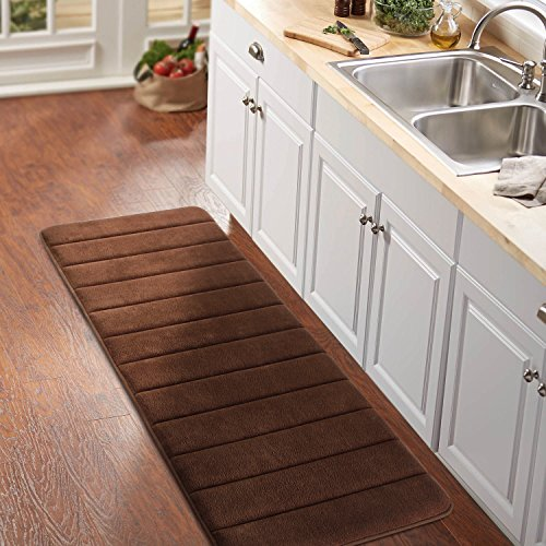"Norcho Anti-Fatigue Extra Long 47"" x 17"" 35D Memory Foam Kitchen Runner Bathroom Rubber Back Anti-slip Rug Mat Brown"