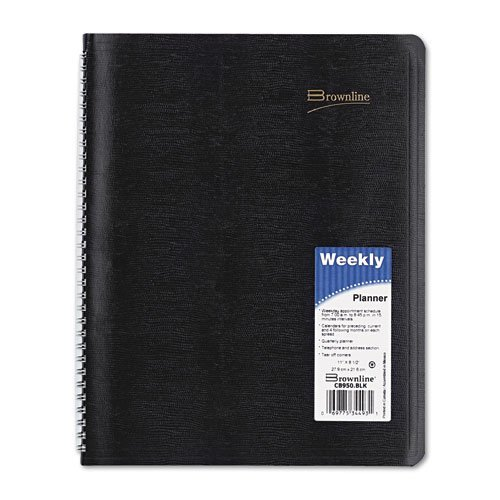 Weekly Planner, 2PPW, 12Mths Jan-Dec, 8-1/2'x11', Black by REDIFORM OFFICE PRODUCTS