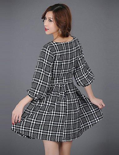 PU&PU Robe Aux femmes Trapèze / Patineuse Sexy / Mignon,Rayé Col Arrondi Au dessus du genou Coton / Polyester , gray-xl , gray-xl