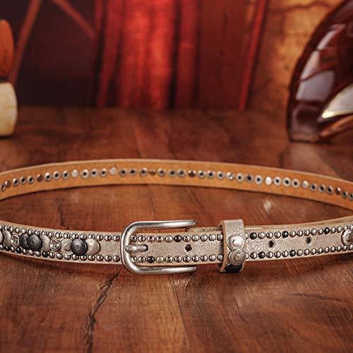 Sinchi Kuzo Luxury Rivet Punk Rock Belt Pin Buckle Cowskin Genuine Leather Handcrafted Cintos Women Female Hip Hop Strap Thin Dress Belts