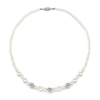e508206c6b6 Amazon.com: Mariell Ivory Pearl & Swarovski Rhinestone Crystal Wedding  Tennis Necklace for Women, Jewelry for Brides: Jewelry