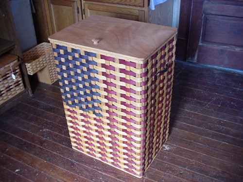 Basket - Trash Can or Hamper - Americana. American Flag Design Trash Can Basket. Approximately Measures 21 1/2 '' Wide X 16'' Deep X 32'' High. What a Way to Complete a Patriotic Room. This Can Also Be Used As a Hamper. This Is a Great Unique Gift Idea for A by AMISH WARES