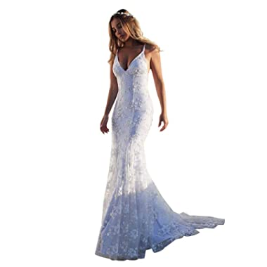 Legros8 Women Lace A-line Pleated Hem Wedding Sexy Dress Dresses White