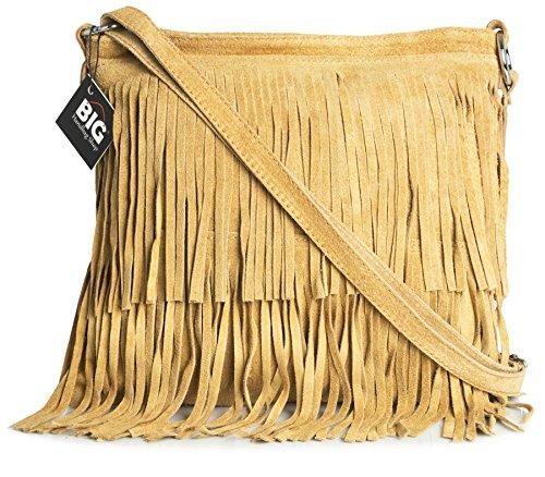 BHBS Bolso de Noche para Dama en Cuero Gamuzado con Flecos en el Frente 32x26 cm (LxA) Marrón Claro (BH160)