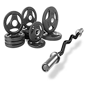 XMark Fitness Combo Offer Olympic EZ Curl Excercise Bar with Premium Quality Rubber Coated Tri Grip Olympic Plate Weight Package