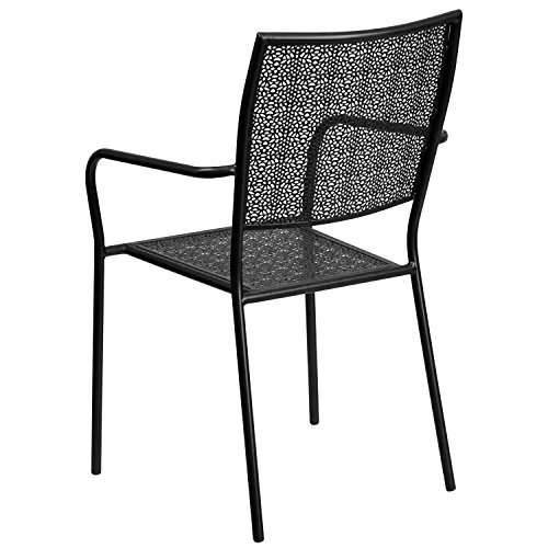MFO Black Indoor-Outdoor Steel Patio Arm Chair with Square Back by My Friendly Office (Image #2)