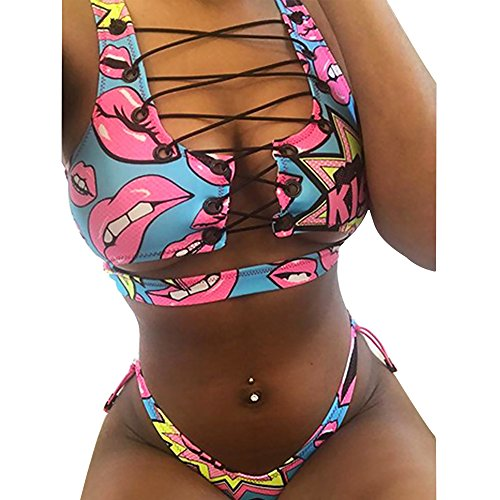 Vip Front Lip - Super-VIP Two Piece Bikini Women's African Print Two Piece Lace up Bikini Set Hot Sexy High Cut Thong Swimsuit (Lips, S)