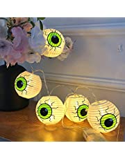 AchidistviQ - Luces para Halloween, Exteriores, Halloween, 115 cm, 10 ledes, farolillo de Papel, decoración para Halloween, decoración para Halloween, decoración Exterior, Fiesta de Interior